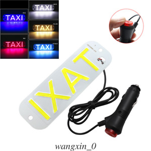 Us Dc 12v Suction Cup Mount Car Windscreen Cab Sign Leds Taxi Light 5colors