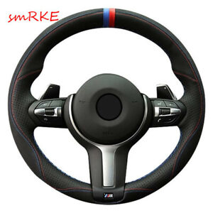 Black Suede Leather Car Steering Wheel Cover For Bmw F87 M2 F80 M3 F82 M4 M5 F12