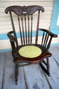 Antique Hand Carved Mahogany Old Man Winter Myan Man Rocking Chair