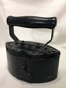 Antique Rare Coal Clothes Iron Patent Pat Appd For Cast Iron