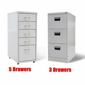 Office Filing Cabinet With 3 5 Drawer Metal Gray Storage Organizer Container Us