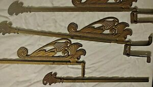 Antique Set 9 Art Deco Nouveau Drape Towel Holder Hanger Swing Bar Bath Hardware