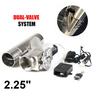 2 25 57mm Electric Exhaust Dual Valve Cut Out Downpipe Y Pipe Wireless Remote