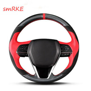 Hand Sewing Carbon Fiber Red Leather Steering Wheel Cover For Toyota Camry 2018