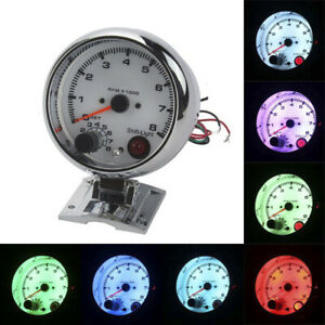 3 75 Racing Tachometer Gauge Tacho Meter 7 Color Led Shift Light 0 8000 Rpm