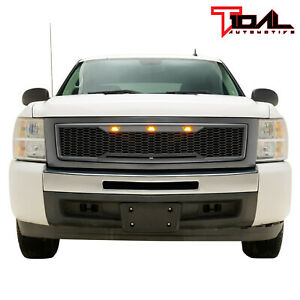 Tidal Replacement Led Grille Upper Gray Grill Fit 2007 2013 Chevy Silverado 1500