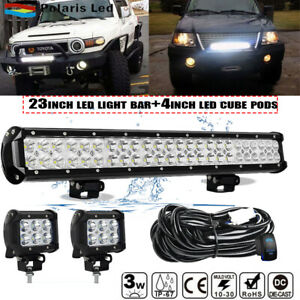 23inch Led Light Bar Spot Flood Combo 4x 4 Cube Pods For Ford Suv 4wd Ute 20