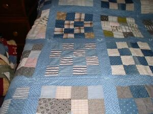 Antique 16 Patch Full Queen Quilt Blues 76 By 94 30 Squares Hand Tied