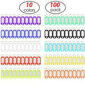 100 pk 10 colors Lightweight Label Window Luggage Tag Tough Plastic Key Rings