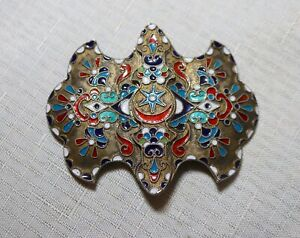 Antique Ornate Handmade Russian Sterling 84 Silver Gilt Enameled Belt Buckle