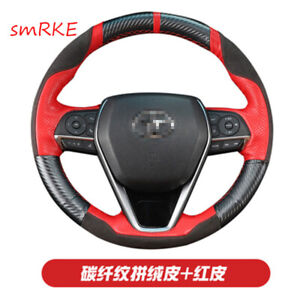 Diy Carbon Fiber Red Leather Steering Wheel Cover For Toyota Camry 8th Avalon