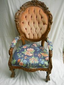 Pair Of Victorian Era Upholstered Arm Chairs