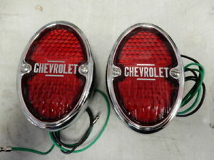 1933 1934 1935 Chevrolet Tail Lights Assemblies Black Housing Incandescent