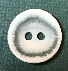 Unusual White And Clear 2 Hole Vintage Button 5960