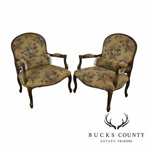 French Louis Xv Style Wide Seat Pair Fauteuils Armchairs