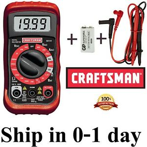 New Craftsman Digital Multimeter With 9v Battery case Volt Ac Dc Tester Meter