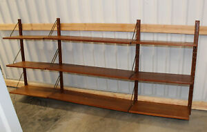 Fabulous 40pc Mid Century Teak Wall Unit Danish Modern Bookcase Shelving