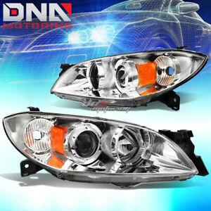 For 04 09 Mazda 3 Sedan 4 Door Chrome Housing Projector Headlight Amber Corner