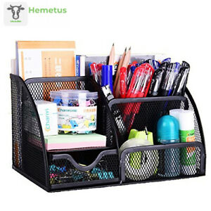 Vanra Office Supply Caddy Metal Mesh Desktop Supplies Organizer School Black