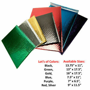 Metallic Glamour Bubble Mailers Padded Envelopes Bags 25 Pcs Choose Size Color