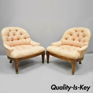Pair Of Baker Tufted Barrel Back Vintage Slipper Salon Lounge Chairs Brass Feet