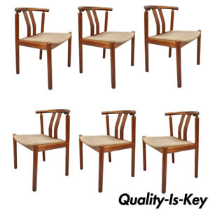 Uldum Danish Modern Teak Dining Chairs Curved Back With Rosewood Inlay Set Of 6