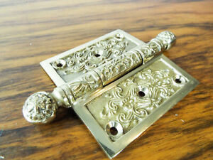 Vintage Solid Brass Door 3 Hinge Heavy Duty Decorative Antique Gate Hardware