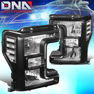 For 2017 2019 Ford F250 Super Duty Oe Style Front Bumper Headlight Lamps Black