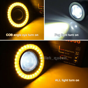 3inch Angel Eyes Halo Ring Drl Lamp Cob Led Fog Light Projector Car Yellow 3200l