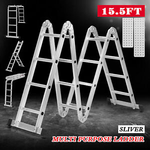 15 5ft Folding Aluminum Extension Telescoping Ladder 16 Steps W 2 Work Platforms