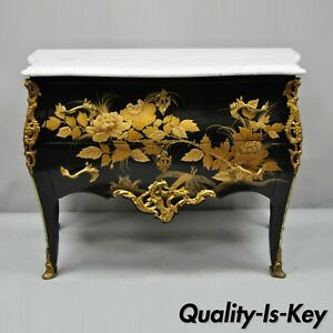 French Louis Xv Style Marble Top Black Gold Bombe Commode Chest Bronze Ormolu