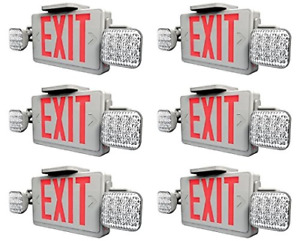 Ciata Lighting Led Red Exit Sign Emergency Light Combo With Battery Backup 6
