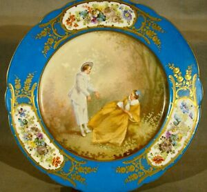 Sevres Artist Signed Chateau Des Tuileries Romantic Couple Plate 9 1 2 C1844
