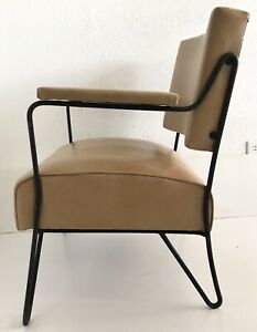 Vtg Mid Century Mcm Lounge Arm Chair Wrought Iron Vinyl Leather Tan Hairpin Legs