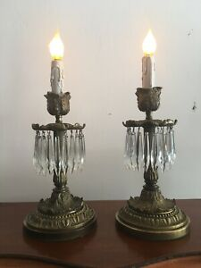 Pair Of Antique French Bronze Alter Candlestick Lamps