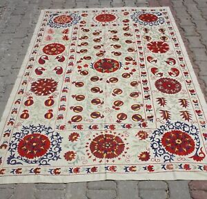 Silk Suzani Hand Embroidered 58x85 Bedspread Or Wall Hanging