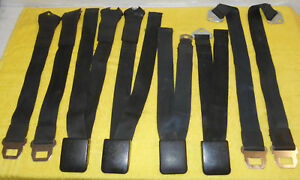 1965 1966 1967 Mustang Gt Gta Cougar Xr7 Orig Black Front Rear Seat Belts Sets