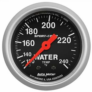 Auto Meter Water Temperature Gauge Black 3332
