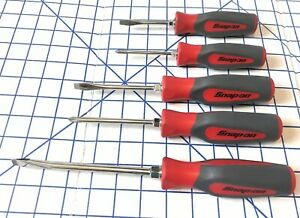 Snap On Combination Screwdriver Set Red Soft Grip Instinct Handle 5 Pc