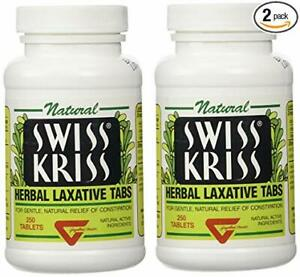 Swiss Kriss Herbal Laxative Tablets By Modern Products 250 Count Pack Of 2