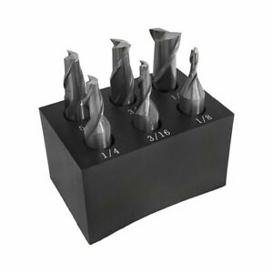 6 Pc 3 8 Shank 2 Flute End Mill Set Single End 1 8 1 2 With Holder