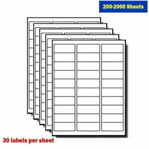 200 2000 Sheets Mailing Shipping Address Labels 1 X 2 5 8 Self Adhesive 30 Up Us