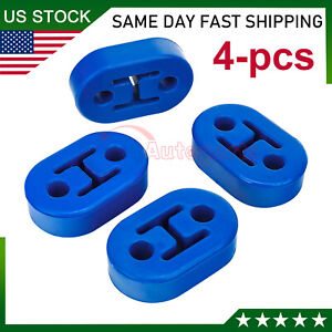 Car Polyurethane Rubber Exhaust Tail Pipe Mount Bracket Hanger Insulator Blue 4