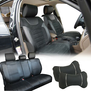 Black Pu Leather Full 5 Seats Cushion Front Rear To Suv Van Bucket Seat K 8209