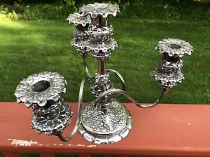 Antique Meridian Quadruple Silverplate Wilcox Conn 4 Candle 3 Arm Candelabra