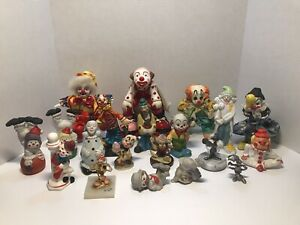 Clown Collection Mostly Vintage 20 Unique Clowns Size Range From 3 To 6 Inches