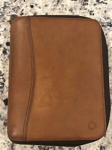 Vtg 1996 Classic 1 1 8 Rings Brown Leather franklin Covey Zip Planner Binder
