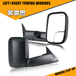 Fit 1998 2001 Dodge Ram 1500 2500 3500 Manual Flip up Power Heated Tow Mirrors