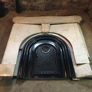 Antique Marble Fireplace Surround Mantle Summer Cover Architectural Salvage