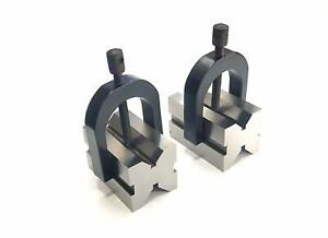 Steel Vee V Block Pair Set 1 3 16 X 1 3 16 X 1 7 8 With Clamps 1 Round Bar